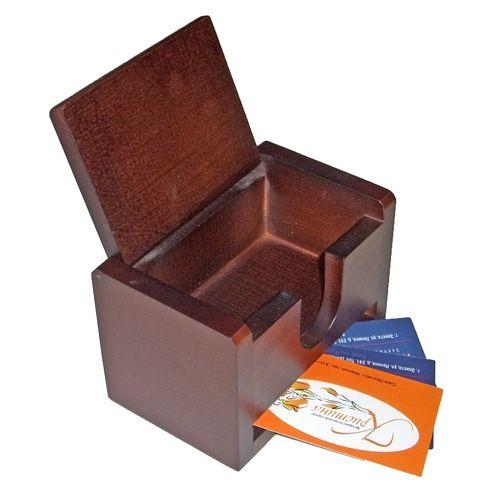 Настольная шкатулка для визитных карточек из массива березы, тонированной под орех