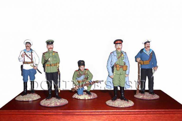 """Набор миниатюр в деревянной шкатулке """"Белая гвардия"""" (5 фигур)"""