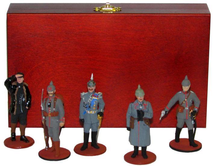 """Набор миниатюр в деревянной шкатулке """"Немцы I мировая война"""" (5 фигур) (1)"""