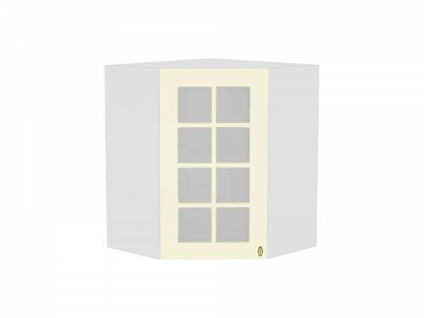 Шкаф верхний угловой Прованс ВУ590 со стеклом (ваниль)