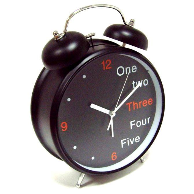 Часы Будильник Гигант черный Английский