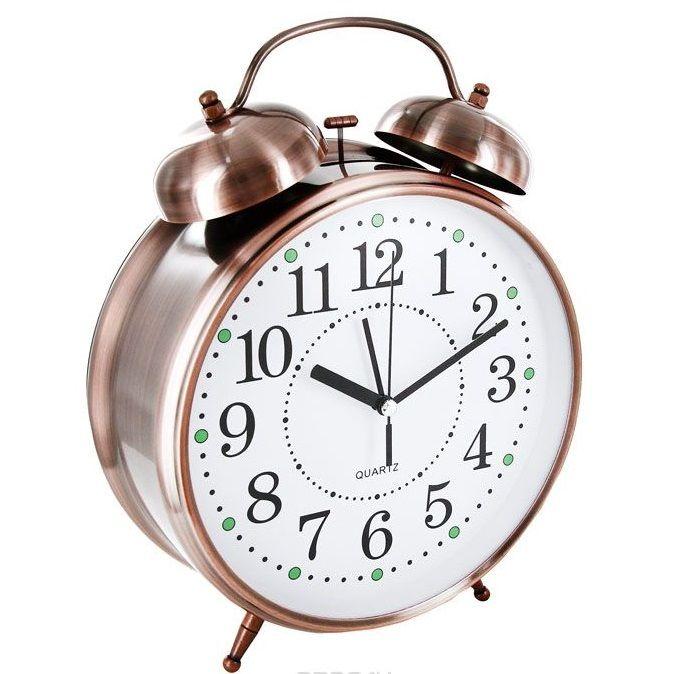 Часы Будильник Гигант медного цвета с подсветкой