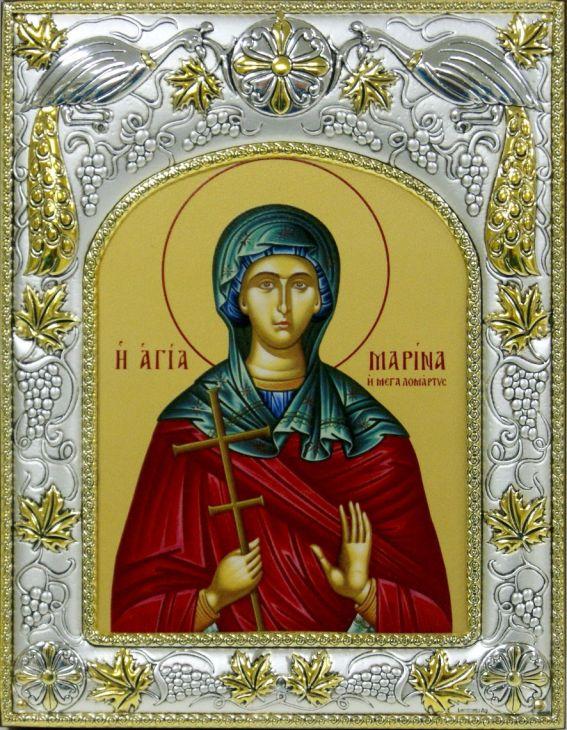 Серебряная икона именная Марина (14*18см., гальванопластика, Россия-Италия)