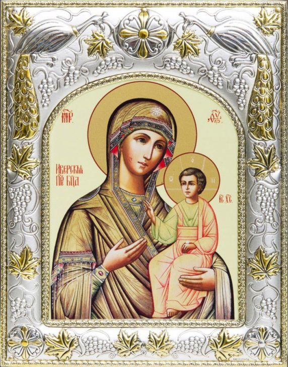 Серебряная икона Божья Матерь Иверская (14*18см., гальванопластика, Россия-Италия)