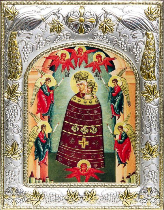 Серебряная икона Божья Матерь Прибавление Ума (14*18см., гальванопластика, Россия-Италия)