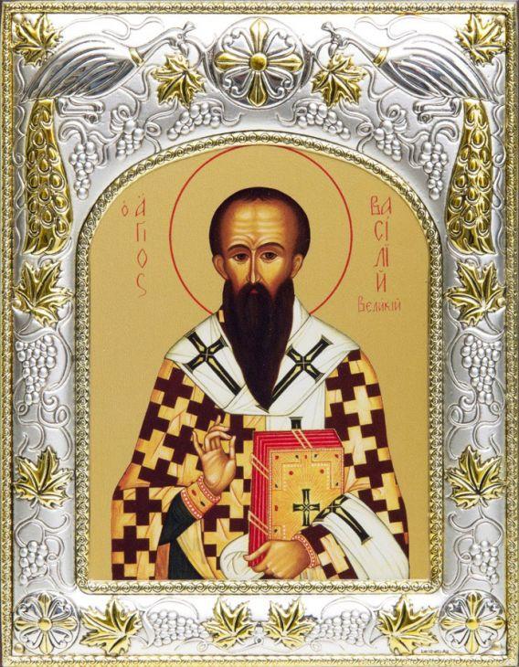 Серебряная икона именная Василий Великий (14*18см., гальванопластика, Россия-Италия)