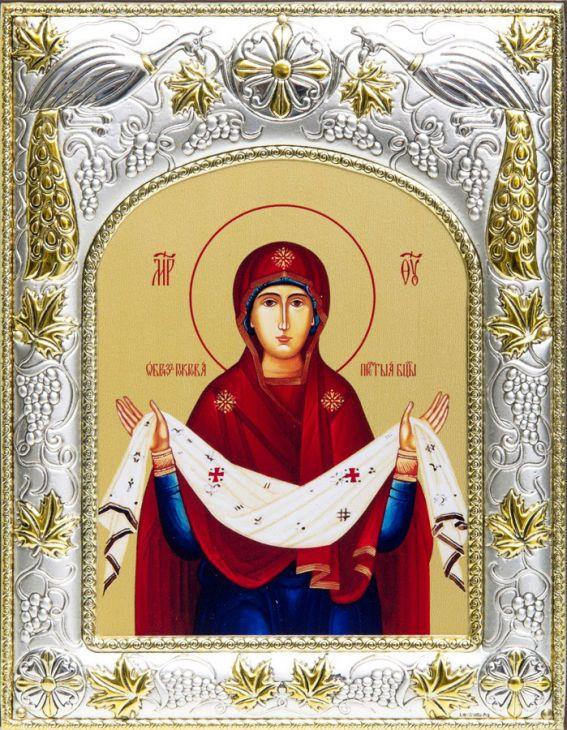 Серебряная икона именная Божья Матерь Покров (14*18см., гальванопластика, Россия-Италия)