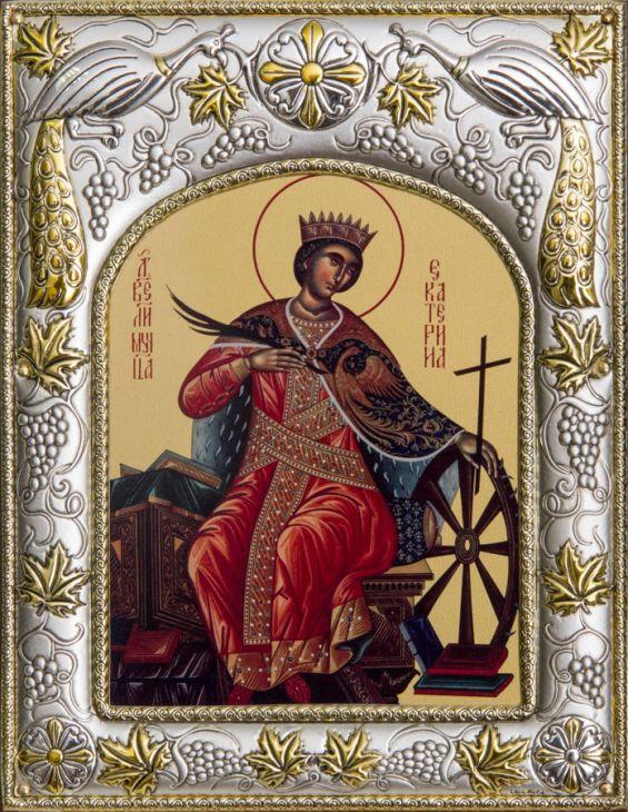 Серебряная икона именная Святая великомученица Екатерина (14*18см., гальванопластика, Россия-Италия)