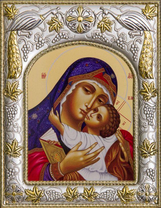 Серебряная икона Божья Матерь Умиление (14*18см., гальванопластика, Россия-Италия)