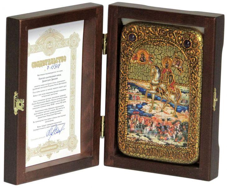 Инкрустированная икона князь Димитрий Донской (10*15см., Россия) на натуральном мореном дубе, в подарочной коробке