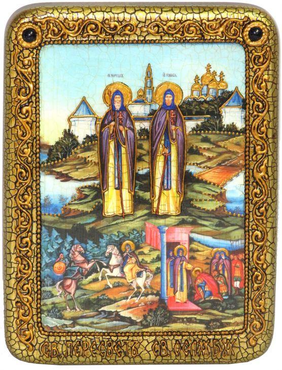 """Подарочная икона """"Святые преподобные Александр (Пересвет) и Андрей (Ослябя) Радонежские"""" на мореном дубе"""