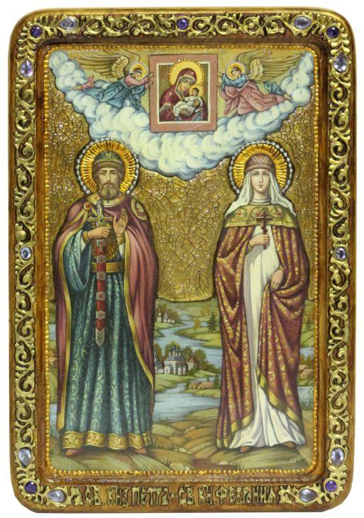 Инкрустированная живописная икона Петр и Февронья (29*42см., Н. Новгород) на натуральном кипарисе в подарочной коробке