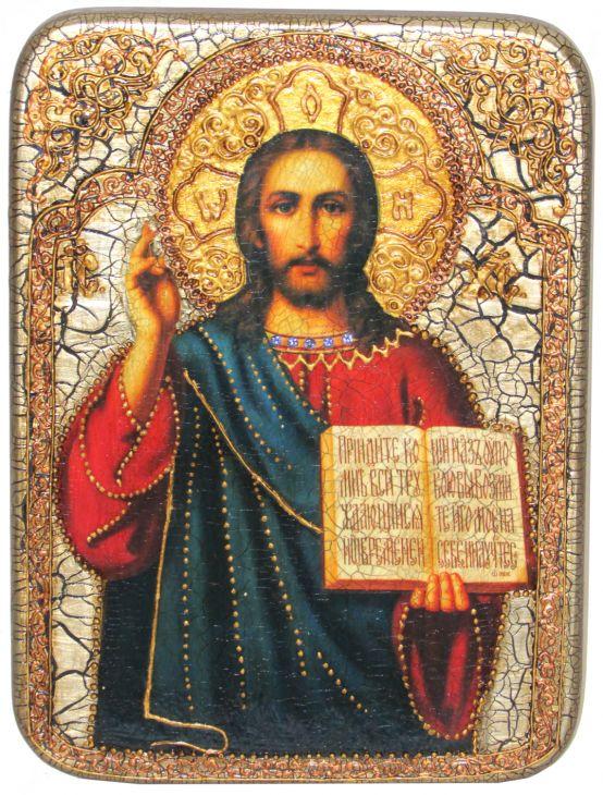"""Подарочная икона """"Господа Иисуса Христа"""" на мореном дубе"""