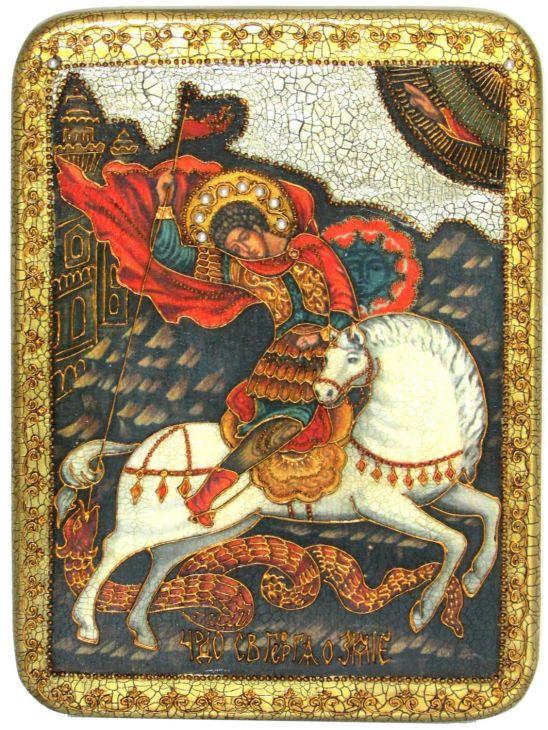 """Подарочная икона """"Чудо святого Георгия о змие"""" на мореном дубе"""
