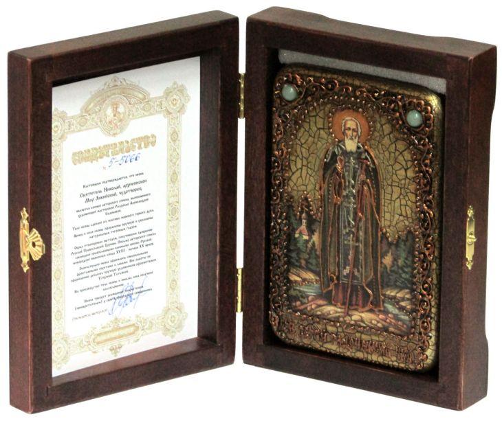Инкрустированная настольная икона Преподобный Сергий Радонежский чудотворец (10*15см., Н. Новгород) на натуральном мореном дубе, в подарочной коробке