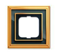 Рамка 1-ая ABB BJE Династия Полир. латунь/Черное стекло