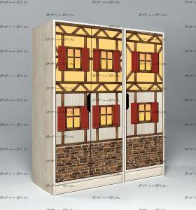 Шкаф 3-дверный низкий Фанки Кидз Домик, арт. 23/4+23/5 (99х52х131)