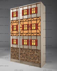 Шкаф 3-дверный Фанки Кидз Домик, арт. 13/10+13/3 (114х52х200)