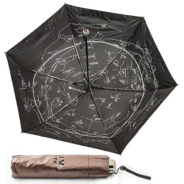 Зонт Звездное небо складной коричневый