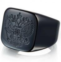 Перстень с гербом России черный