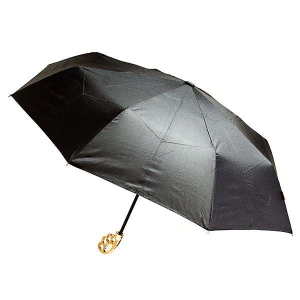 Зонт Кастет черный с серебристой ручкой