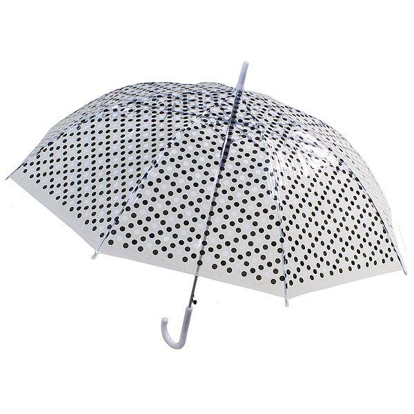 Зонт купол Горошек черный