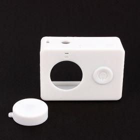 Силиконовый чехол и крышка на объектив Xiaomi Yi (белый)
