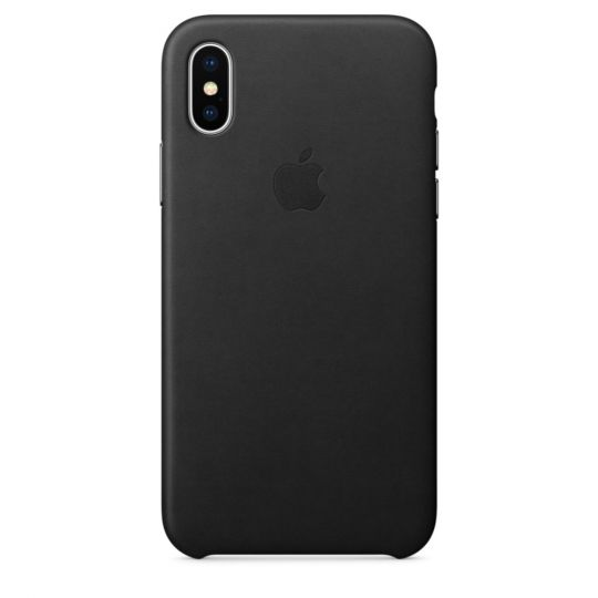 Чехол Apple Leather Case для iPhone X/Xs/XsMAX (чёрный)
