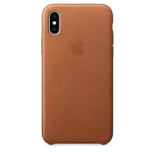 Чехол Apple Leather Case для iPhone X/Xs/XsMAX  (золотисто-коричневый)