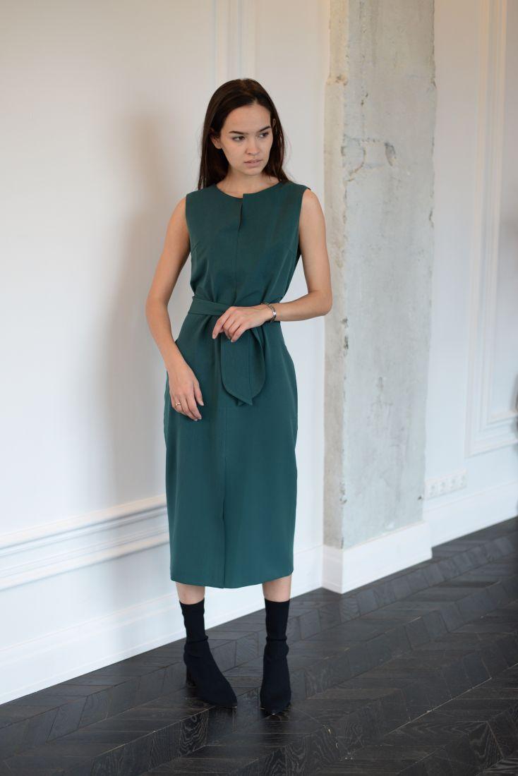 m819 Платье базовое (изумруд)