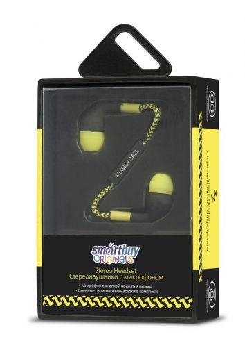 Наушники вакуумные - гарнитура SmartBuy Z, черная/желт