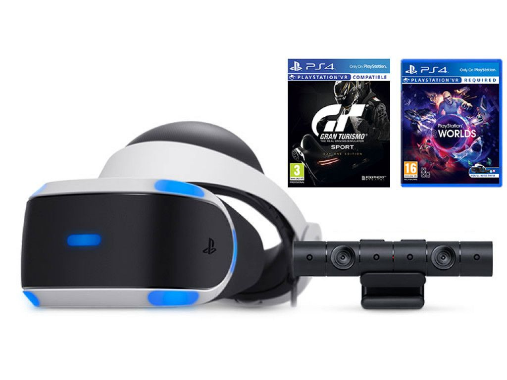 Sony PLAYSTATION VR ( CUH-ZVR2 )+ Камера + Игра Gran Turismo Sport + Игра VR Worlds