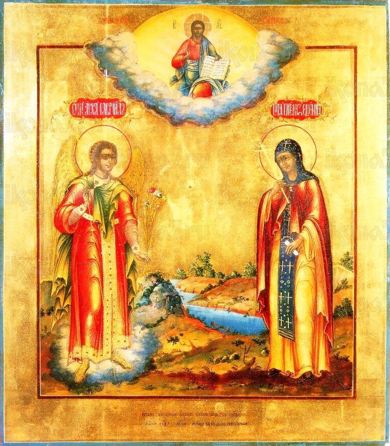 Икона Архангел Гавриил и Евгения Римская (копия старинной)