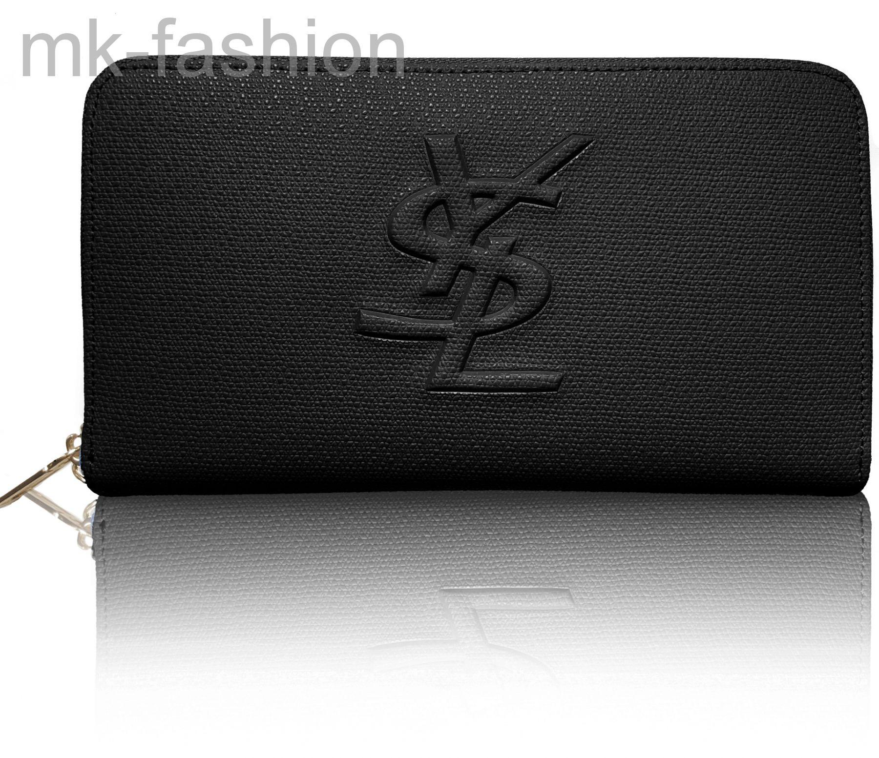 bec008c53308 Кошелек Yves Saint Laurent 1344 кожаный черный с логотипом бренда