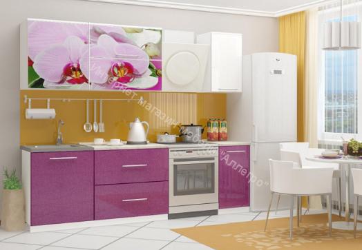 Кухонный гарнитур Миф Орхидея 2, 1.8м с фотопечатью