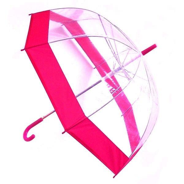 Зонт прозрачный купол розовый