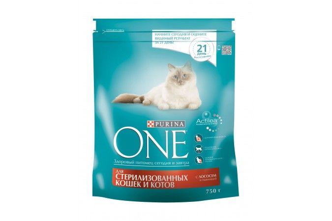 ВАН сухой корм  для стерилизованных кошек и котов лосось/пшеница  пак. 750г 1/8