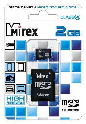 Карта памяти microSD 2 Gb MIREX 4 class (с адаптером SD)