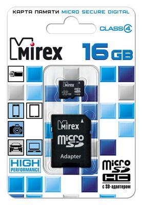 Карта памяти microSD 16 Gb MIREX  class 4 (с адаптером SD)