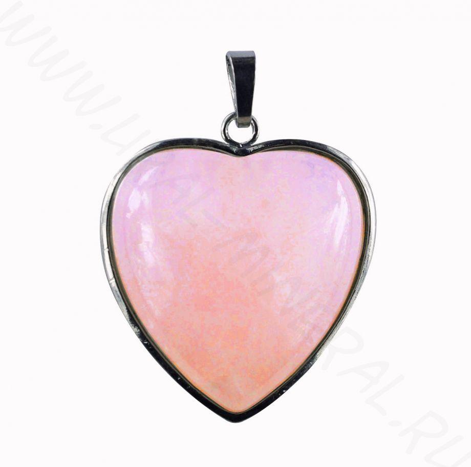 """Кулон """"Сердце"""" - Кварц розовый"""