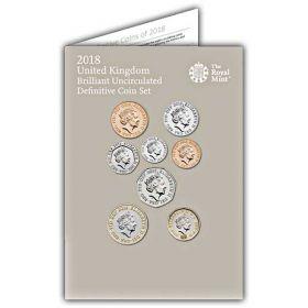 Официальный годовой набор Великобритания  2018 (13 монет) BU  Буклет на заказ
