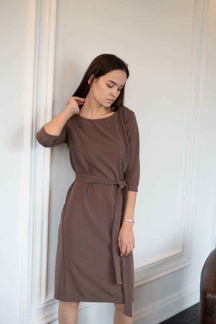 m873 Платье базовое трикотажное (кофе)
