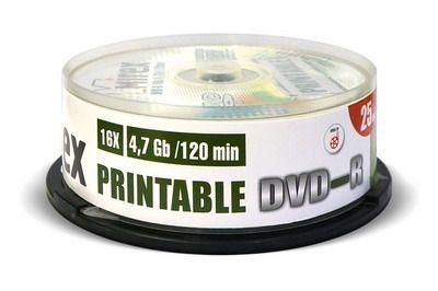 DVD-R Mirex printable inkjet 4,7 Гб 16x Cake box /25