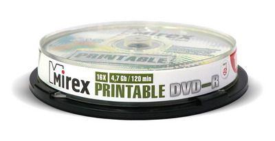 DVD-R Mirex printable inkjet 4,7 Гб 16x Cake box /10