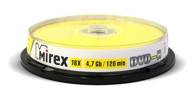 DVD-R Mirex 4,7 Гб 16x Cake box /10
