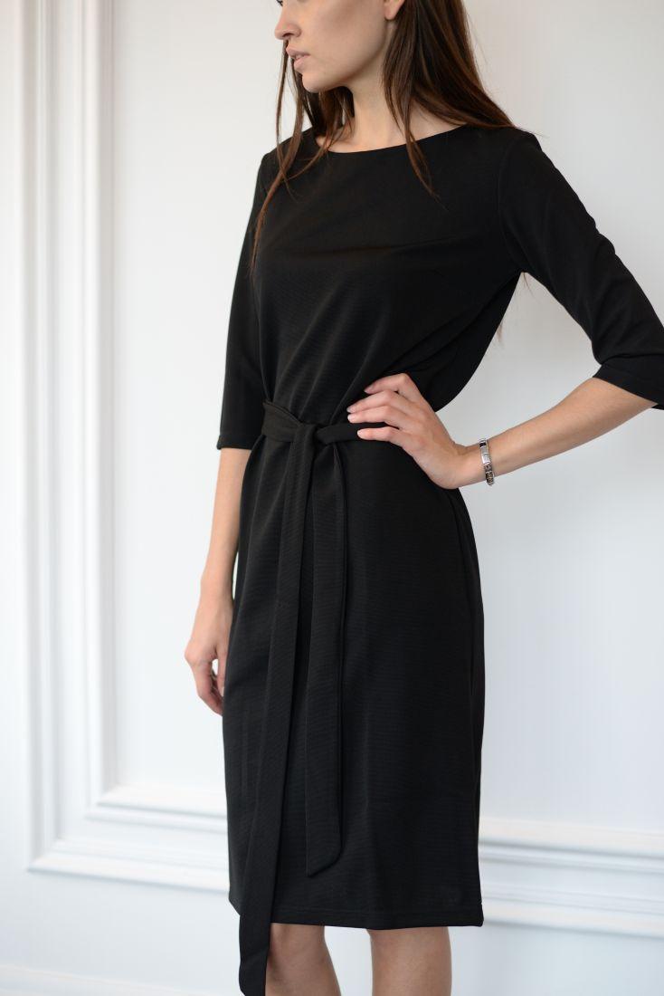 m874 Платье базовое трикотажное (черное)