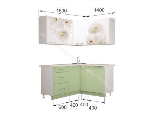 Кухня Флоренс угловая, белый глянец/зеленый суперматовый/фотопечать