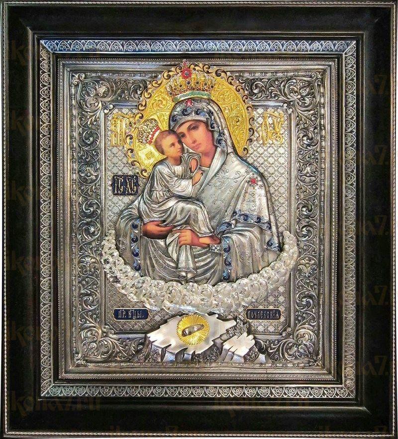 Почаевская икона БМ (36х41), серебро