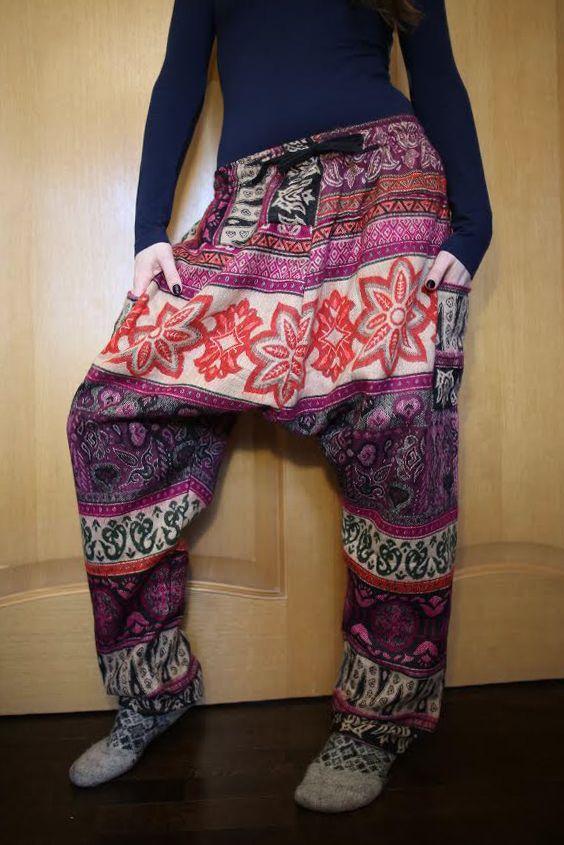 Утепленные этнические штаны Зуавы, розовые с красным (Москва)