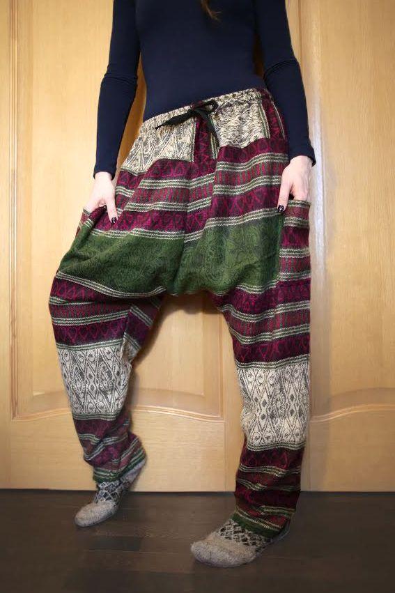 Утепленные этнические штаны Зуавы, серо-зелёные (Москва)